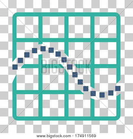 Function Chart icon. Vector illustration style is flat iconic bicolor symbol cobalt and cyan colors transparent background. Designed for web and software interfaces.