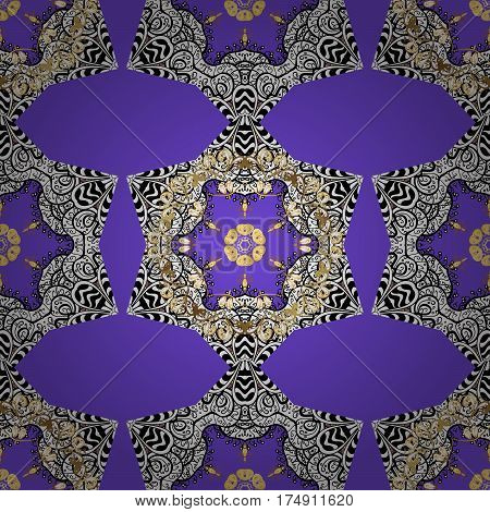 Luxury royal and Victorian concept. Vintage baroque floral seamless pattern in gold over violet. Ornate decoration. Golden element on violet background.