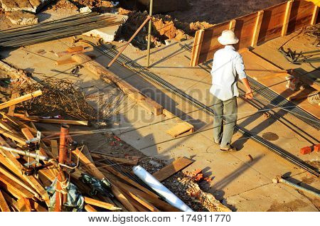 Builder Worker Build Local Lao Style No Have In Safety Protective Equipment In Construction Site At