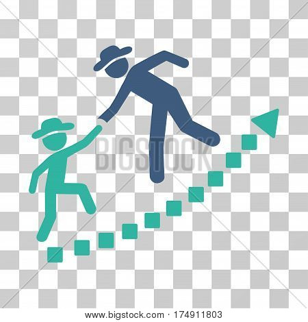 Gentlemen Education Growth icon. Vector illustration style is flat iconic bicolor symbol cobalt and cyan colors transparent background. Designed for web and software interfaces.