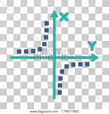 Hyperbola Plot icon. Vector illustration style is flat iconic bicolor symbol cobalt and cyan colors transparent background. Designed for web and software interfaces.