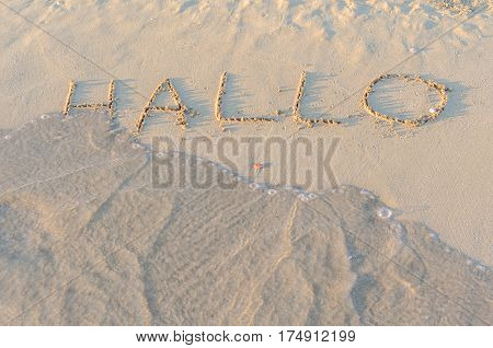 Written words Hallo on sand of beach in sunny summer morning. Vacation holidays concept.