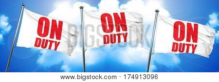 on duty, 3D rendering, triple flags