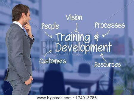 Digital composition of businessman looking at training and development concepts against conference room in background