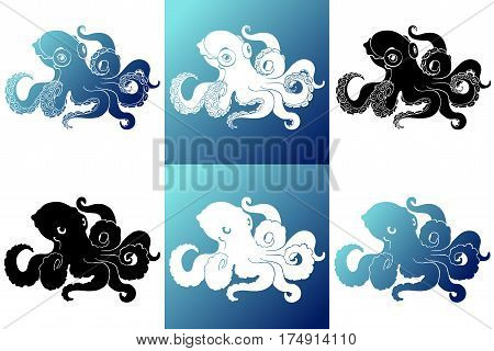 Set six silhouette white, blue and black octopus on a background isolated. Logo. Marine cephalopod animal. Vector cartoon illustration.