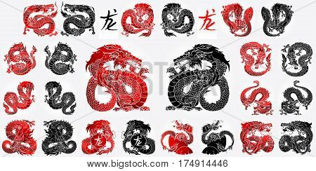 Ste 12 Asian dragon black and red Asian chinese dragon and hieroglyph dragon on white background. Cartoon monster traditional culture. Vector illustration isolated.
