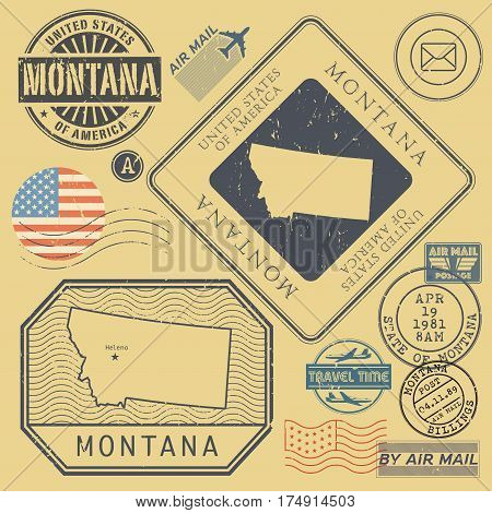 Retro vintage postage stamps set Montana United States theme vector illustration