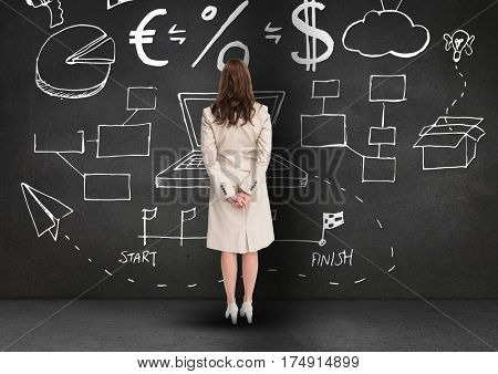Digitally generated image of focused business professional looking at the blackboard