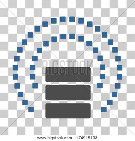 Database Sphere Shield icon. Vector illustration style is flat iconic bicolor symbol cobalt and gray colors transparent background. Designed for web and software interfaces.