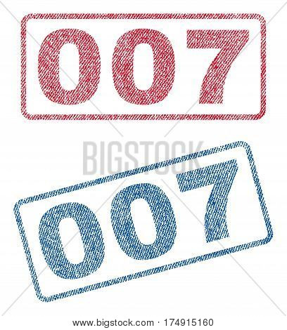 007 text textile seal stamp watermarks. Blue red fabric vectorized texture. Vector caption inside rounded rectangular shape. Rubber sticker with fiber textile structure.