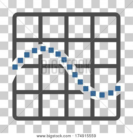 Function Chart icon. Vector illustration style is flat iconic bicolor symbol cobalt and gray colors transparent background. Designed for web and software interfaces.
