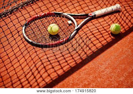 Close up of tennis equipment on tennis court
