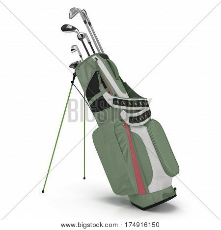 Golf Bag with Clubs on white background. 3D illustration