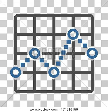 Line Plot icon. Vector illustration style is flat iconic bicolor symbol cobalt and gray colors transparent background. Designed for web and software interfaces.