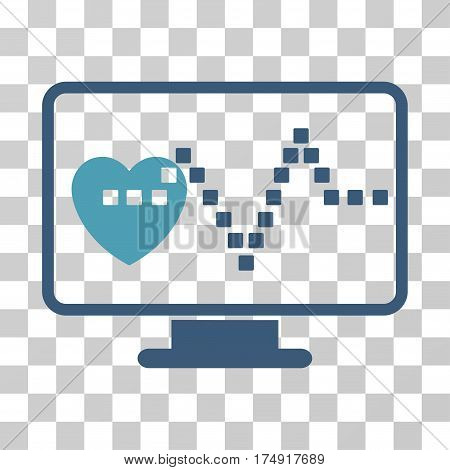 Cardio Monitoring icon. Vector illustration style is flat iconic bicolor symbol cyan and blue colors transparent background. Designed for web and software interfaces.