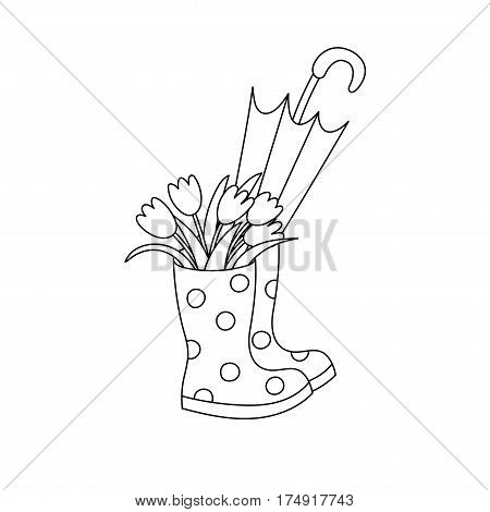 Rubber boots with a bouquet of tulips and an umbrella. Black and white vector illustration.