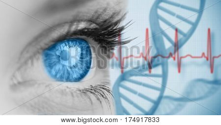 Close-up of woman with blue eye against digitally composite hear beat background