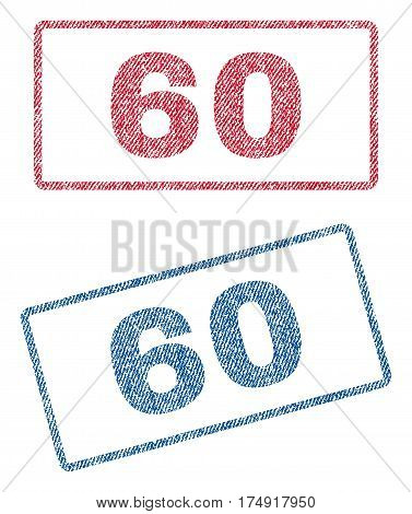 60 text textile seal stamp watermarks. Blue red fabric vectorized texture. Vector tag inside rounded rectangular shape. Rubber emblem with fiber textile structure.