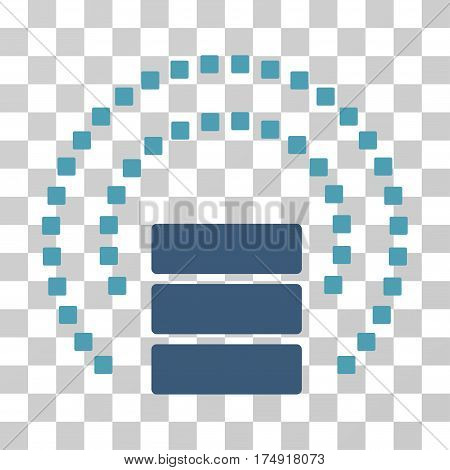 Database Sphere Shield icon. Vector illustration style is flat iconic bicolor symbol cyan and blue colors transparent background. Designed for web and software interfaces.