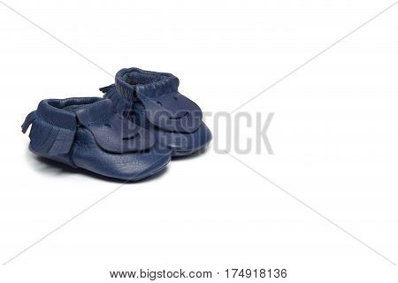 Childs Navy Blue Booties On A White Background