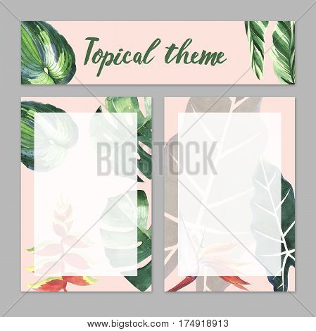 Tropical Hawaii leaves palm tree theme in a watercolor style isolated. Aquarelle items for background, texture, wrapper pattern, frame or border.