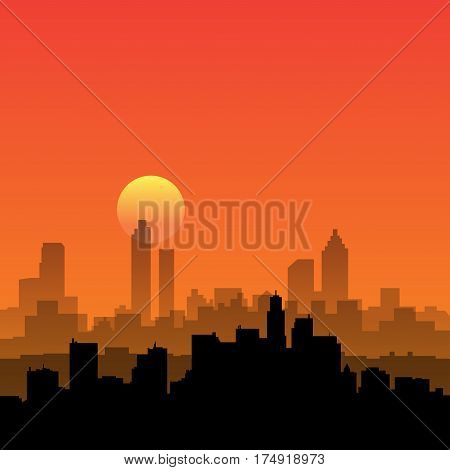 City skyline. Urban landscape. Cityscape in flat style. Modern city landscape. Cityscape backgrounds. Daytime city skyline vector illustration