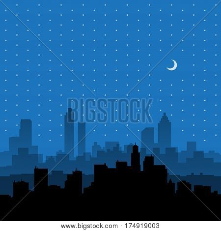 City skyline. Urban landscape. Cityscape in flat style. Modern city landscape. Cityscape backgrounds. Nighttime city skyline vector illustration