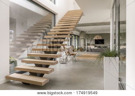Minimalist staircase in modern luxurious villa interior