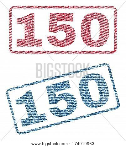 150 text textile seal stamp watermarks. Blue red fabric vectorized texture. Vector tag inside rounded rectangular shape. Rubber emblem with fiber textile structure.