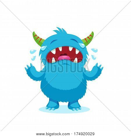 Angry Smile. Emotions Monster. Weeping Emotions Beast. Cry Blue Monster Cartoon Mascot Character. Vector Illustration Isolated On White Background.