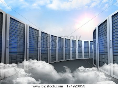 Server rooms arranged in a rows against digitally generated cloudy sky