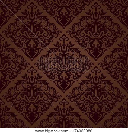 Seamless brown floral wallpaper pattern.