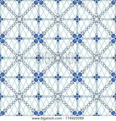Blue and white winter flower pattern.