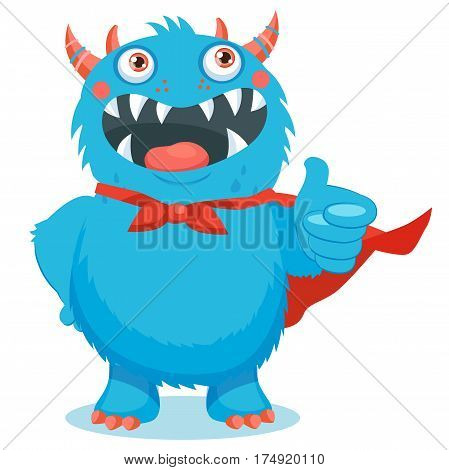 Thumbs Up Vector. Superhero Monster. Your Inner Cute Beast. Cute Monster Cartoon Mascot Character Giving Thumbs Up. You Are Wonderful.