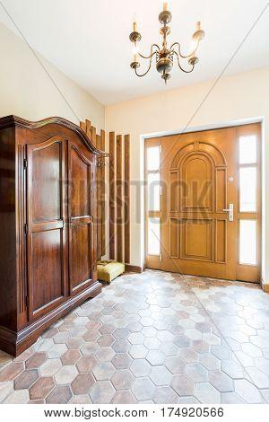 Spacious Hallway With Wooden Wardrobe