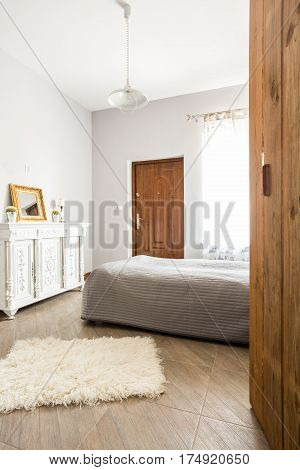 Comfy Stylish Bedroom With Bed