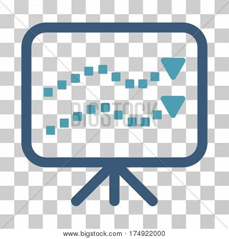 Trends Presentation icon. Vector illustration style is flat iconic bicolor symbol cyan and blue colors transparent background. Designed for web and software interfaces.