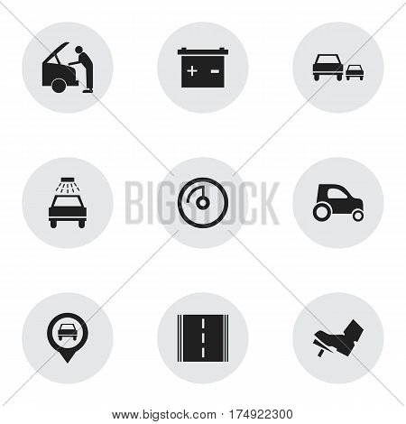 Set Of 9 Editable Vehicle Icons. Includes Symbols Such As Race, Accumulator, Vehicle Car And More. Can Be Used For Web, Mobile, UI And Infographic Design.