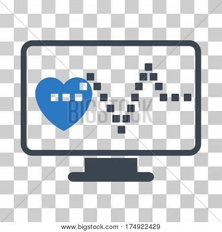 Cardio Monitoring icon. Vector illustration style is flat iconic bicolor symbol smooth blue colors transparent background. Designed for web and software interfaces.