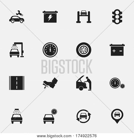 Set Of 16 Editable Transport Icons. Includes Symbols Such As Car Fixing, Tire, Stoplight And More. Can Be Used For Web, Mobile, UI And Infographic Design.