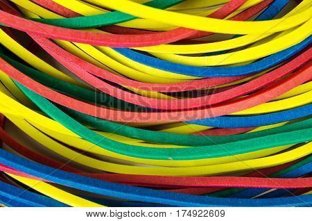 Set Stationery Rubber Bands As Background