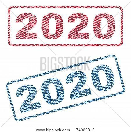 2020 text textile seal stamp watermarks. Blue red fabric vectorized texture. Vector caption inside rounded rectangular shape. Rubber sticker with fiber textile structure.