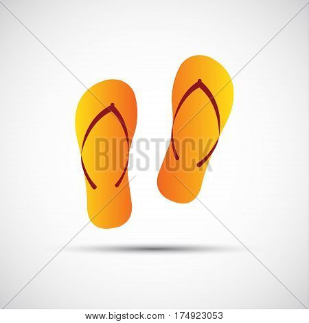 Pair of flip-flops isolated on a white background simple vector illustration