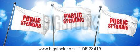 public speaking, 3D rendering, triple flags