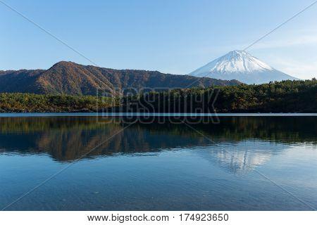 Mount Fuji and lake