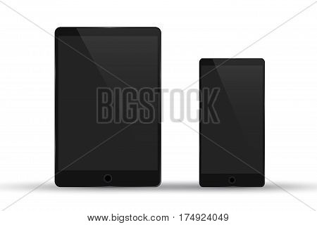 Vector illustration of tablet and mobile phone isolated on a white background