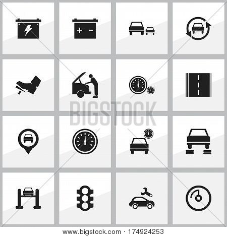 Set Of 16 Editable Car Icons. Includes Symbols Such As Auto Service, Car Fixing, Auto Repair And More. Can Be Used For Web, Mobile, UI And Infographic Design.