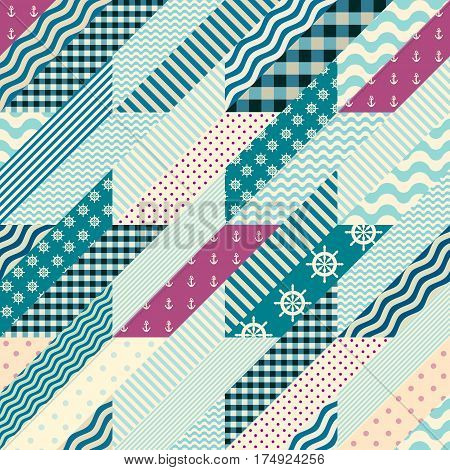 Seamless background pattern. Hounds-tooth pattern in a patchwork and nautical style.