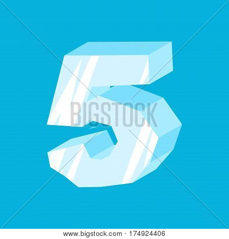 Number 5 Ice. Icicles Font Five. Frozen Alphabet Symbol. Iceberg Abc Sign