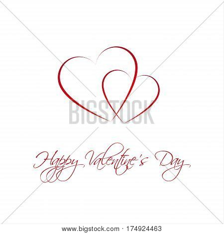 Happy Valentines day card with two heart Be my Valentine background vector illustration